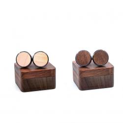 Vintage wooden round cufflinks
