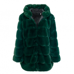 Vintage fluffy hooded elegant long fur jacket coat plus size