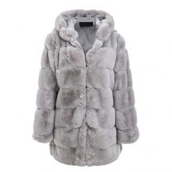 Elegante donzige lange jas met capuchon - bontjas - grote maten
