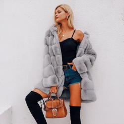 Veste longue à capuche élégante et moelleuse - manteau de fourrure - grande taille