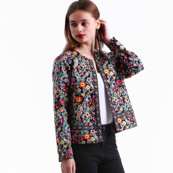 Floral design multicolor elegant short jacket