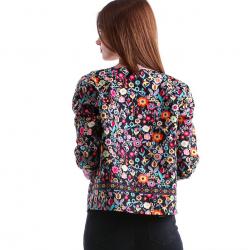 Kwiatowy wzór wielokolorowa elegancka krótka kurtka żakiet