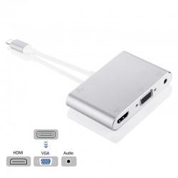 8-pins naar HDMI VGA en 3,5 mm audio-jack-adapter - HDTV OTG-converter voor iPhone - iPad
