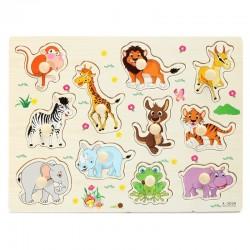 Kreskówkowe zwierzątka - drewniane puzzle - zabawka