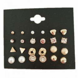 Crystal & pearl gold & silver stud earrings set
