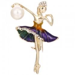 Ballerina crystal brooch