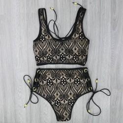 Lace high waisted swimsuit bikini set