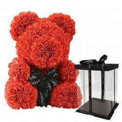 Różany miś - niedźwiedź wykonany z róż nieskończoności - 40 cm