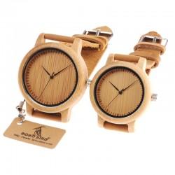 Skórzany pasek bambusowy kwarcowy zegarek dla pary