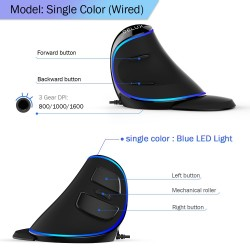 M618 Plus ergonomic vertical optical gaming wired mouse 6 buttons 4000 DPI