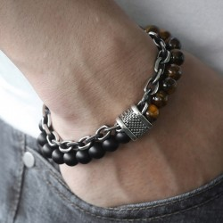 Natural stone beaded stainless steel bracelet