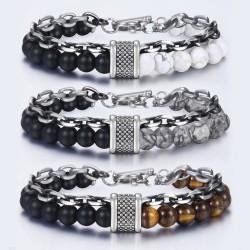 Roestvrij stalen armband met natuursteen kralen
