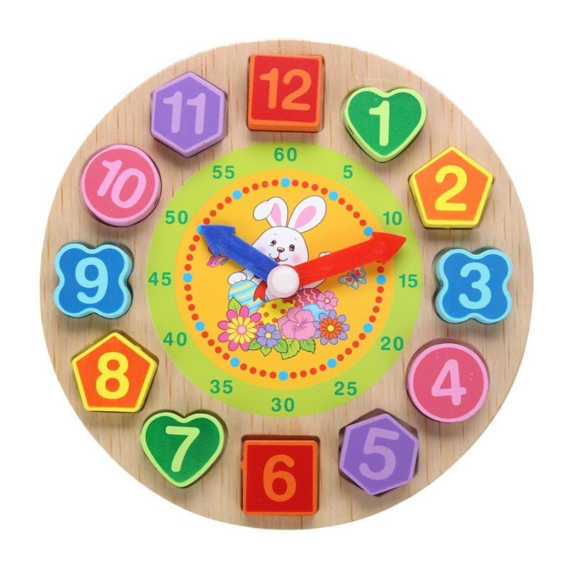 Wooden puzzle clock with 12 numbers - toy