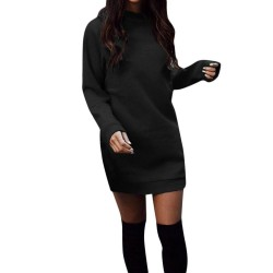 Warm mini dress with long sleeve