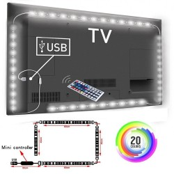1M / 2M / 3M RGB 5050SMD LED TV background lighting strip - USB connection - remote control