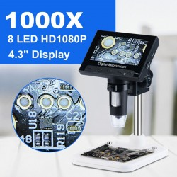Digitales elektronisches Mikroskop 1000X - 1080p LCD-Display - 8 LED-Ständer - Reparatur der Leiterplatte