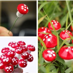 Garden decoration - mini mushrooms 2cm 10 pcs