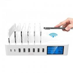 USB-Ladegerät mit 8 Anschlüssen und kabellosem Laden - Typ C - LED-Anzeige und Standfuß