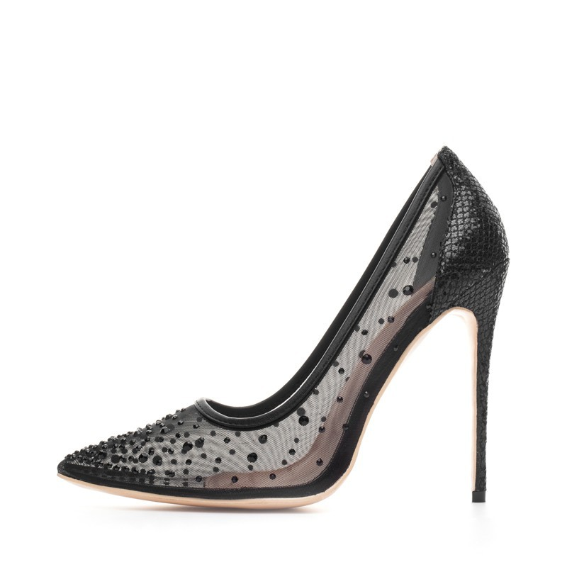 Crystal rhinestone mesh - high heel pumps