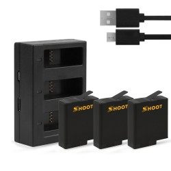 AHDBT-501 battery - three & dual ports USB charger for GoPro 7 /6 / 5 Action Camera