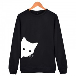 Wzór kota - sweter - luźna bluza