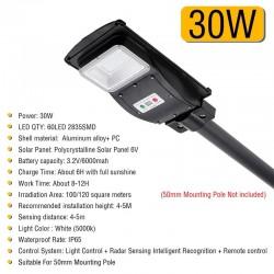 30W - 60W - 90W solar LED-straatverlichting - bewegingssensor - afstandsbediening - waterdicht