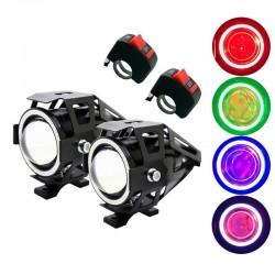 U7 Angel Eye phare moto LED avec interrupteur - lampe de brouillard - puce CREE 3000LM - 2 pièces