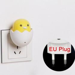 LED AC 220V - wtyczka do gniazdka ściennego - lampka nocna - z czujnikiem sterującym - żółta kaczka