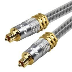 Toslink EMK - premium - cavo audio ottico digitale - connettore Spdif oro OD8.0mm - 1m - 2m - 3m - 5m