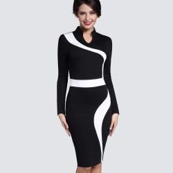 Vintage - biało-czarna sukienka z długim rękawem