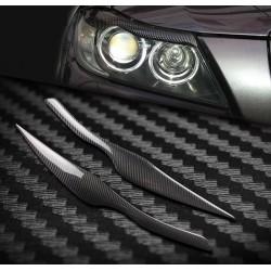 Naklejki brwi reflektorów samochodowych dla 2005 - 2011 BMW E90 E91 4DR - włókno węglowe
