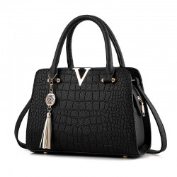 Crocodile pattern - crossbody shoulder bag with tassels