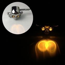 Chromowana główka czaszki - LED - motocyklowe światła sygnalizacyjne - kierunkowskazy dla Honda Yamaha Harley Chopper - 2szt