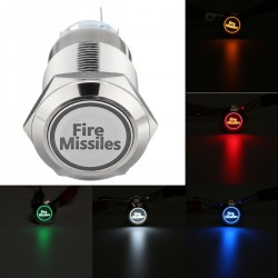 12V 19mm 5 Pin - fire missiles - LED momentary push button switch - metal