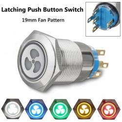 Przełącznik wentylatora LED 19mm - panel samoblokujący 12V
