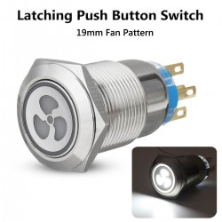 19mm LED push button fan switch - 12V self-lock panel