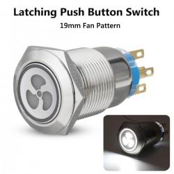 Interrupteur à bouton-poussoir de ventilateur 12v 19mm avec DEL - démarrage du moteur - panneau à verrouillage automatique