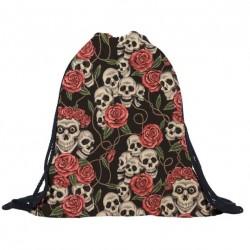 3D czaszka & róże - plecak ze sznurkiem - unisex