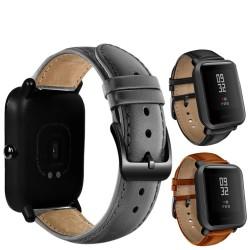 Bracelet de montre en cuir avec boucle noire pour Xiaomi Huami Amazfit Bip
