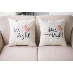 Mr & Mrs Alway Right - bawełniana poszewka na poduszkę 44 * 44 cm