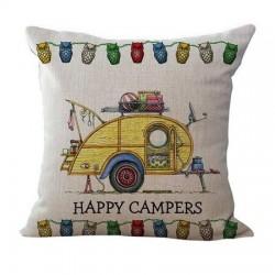 Funda de almohada de tiro de 10 estilos Happy Campers funda de almohada Fundas de cojn hogar textil