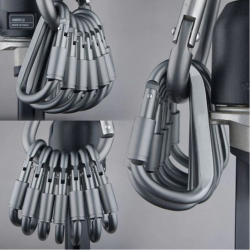 Mosquetón de aluminio - gancho rápido tipo D 6 piezas