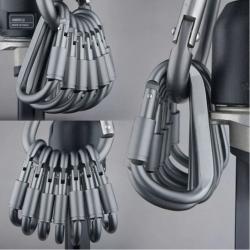 Mousqueton en aluminium - Crochet rapide type D 6 pièces