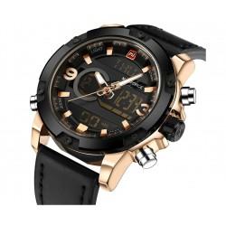 NAVIFORCE - analogowy - cyfrowy skórzany zegarek
