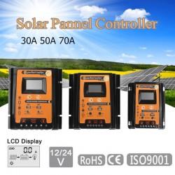 12V 24V 30A 50A 70A MPPT - Contrôleur de charge solaire - Régulateur de batterie pour panneau solaire - Double écran LCD USB