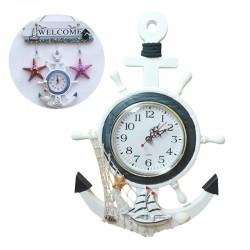 Nutica Vintage Reloj de pared de madera de estilo mediterrneo Retro ancla de mar relojes regalo ho