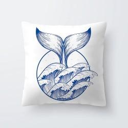 Niebiesko-białe morskie wzory - poszewka na poduszkę 45 * 45cm