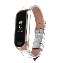 Bracelet de montre intelligent en cuir color noir or Rose pour xiaomi mi Band 3 bracelet pour xiaom