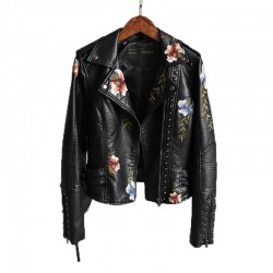 Floral embroidery - leather jacket