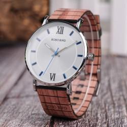 Elegancki drewniany zegarek kwarcowy - unisex